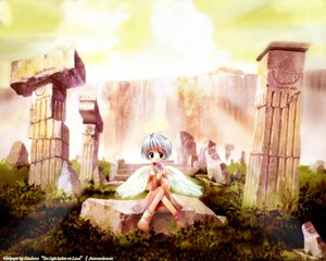 Rating: Safe Score: 31 Tags: angel grass green_eyes halo loli ruins short_hair white_hair wings User: Oyashiro-sama
