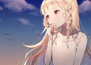 Rating: Safe Score: 96 Tags: azit_(down) blonde_hair braids close clouds flat_chest gradient long_hair maquia red_eyes sayonara_no_asa_ni_yakusoku_no_hana_wo_kazarou signed sky stars sunset User: RyuZU