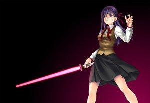 Rating: Safe Score: 8 Tags: fate_(series) fate/stay_night lightsaber long_hair matou_sakura purple purple_eyes purple_hair school_uniform weapon User: Oyashiro-sama