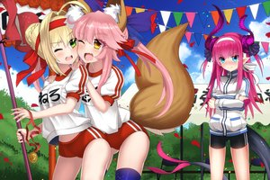 Rating: Safe Score: 28 Tags: animal_ears aqua_eyes blonde_hair bloomers blush braids brown_eyes clouds elizabeth_bathory_(fate) fate/grand_order fate_(series) foxgirl green_eyes headband horns long_hair nero_claudius_(fate) petals pink_hair pointed_ears ponytail purple_hair ribbons shorts sky tail tamamo_no_mae_(fate) thighhighs uiu wink User: RyuZU