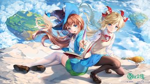 Rating: Safe Score: 44 Tags: 2girls animal aqua_eyes bell bird blonde_hair book brown_hair clouds hat pantyhose school_uniform skirt sky thighhighs twintails watermark witch witch_hat youqiniang User: BattlequeenYume