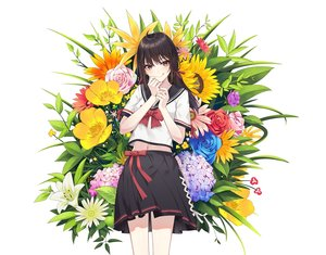 Rating: Safe Score: 50 Tags: black_hair bow brown_eyes cropped flowers ge_zhong_kuaile leaves long_hair navel original ribbons rose school_uniform skirt sunflower twintails white User: otaku_emmy