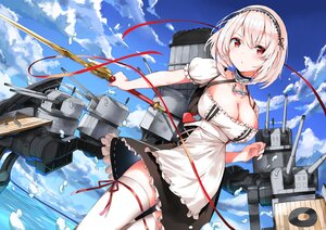 Rating: Safe Score: 73 Tags: anthropomorphism apron azur_lane clouds maid marie_(pixiv31942978) red_eyes short_hair sirius_(azur_lane) sky sword thighhighs water weapon white_hair User: Nepcoheart