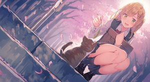Rating: Safe Score: 113 Tags: animal blonde_hair braids cat cherry_blossoms green_eyes kneehighs original petals seifuku skirt stairs tree yasumo_(kuusouorbital) User: RyuZU
