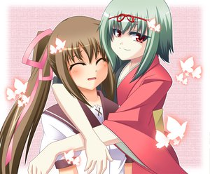Rating: Safe Score: 6 Tags: 2girls akai_ito blush brown_hair butterfly green_hair hatou_kei hug japanese_clothes kimono long_hair nozomi_(akai_ito) red_eyes ribbons school_uniform short_hair twintails User: HawthorneKitty