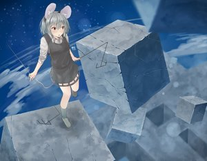Rating: Safe Score: 45 Tags: animal_ears gray_hair kneehighs mousegirl nazrin netamaru red_eyes short_hair skirt tail touhou User: mattiasc02