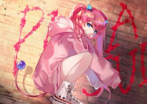 Rating: Safe Score: 39 Tags: angelic_buster aqua_eyes graffiti hoodie horns long_hair maplestory pink_hair tail twintails vardan User: BattlequeenYume