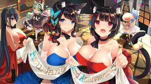 Rating: Safe Score: 60 Tags: akashi_(azur_lane) animal animal_ears anthropomorphism azur_lane bell black_hair blue_eyes blue_hair bow breasts cat catgirl cat_smile choker cleavage dress fang fubuki_(azur_lane) fusou_(azur_lane) goth-loli green_hair group headdress instrument lolita_fashion long_hair red_eyes ribbons sanba_tsui short_hair taihou_(azur_lane) tail thighhighs twintails yamashiro_(azur_lane) yellow_eyes User: BattlequeenYume