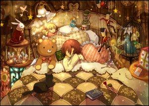 Rating: Safe Score: 146 Tags: animal bed bird book brown_hair bunny cat dog doll flowers night original puppet ribbons sleeping stars teddy_bear yunomachi User: Maboroshi