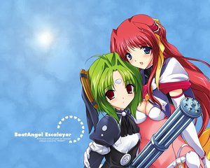 Rating: Safe Score: 11 Tags: 2girls alice_soft beat_angel_escalayer blue_eyes blush breasts cleavage elbow_gloves escalayer gloves green_hair gun kouenji_madoka kouenji_sayuka long_hair red_eyes red_hair short_hair weapon User: Oyashiro-sama