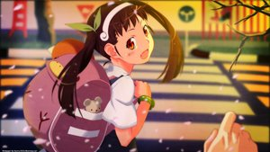 Rating: Safe Score: 29 Tags: bakemonogatari blush brown_eyes brown_hair fang hachikuji_mayoi headband loli long_hair monogatari_(series) petals tagme_(artist) twintails watermark User: RyuZU