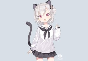 Rating: Safe Score: 120 Tags: animal_ears blue capriccio catgirl gray_hair loli original purple_eyes school_uniform short_hair skirt tail third-party_edit watermark User: otaku_emmy