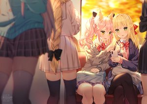 Rating: Safe Score: 91 Tags: animal_ears blonde_hair bow braids cat_smile fate/grand_order fate_(series) foxgirl green_eyes headphones jeanne_d'arc_(fate) long_hair nero_claudius_(fate) pantyhose phone pink_hair ponytail rosuuri school_uniform skirt tamamo_no_mae_(fate) thighhighs twintails watermark yellow_eyes zettai_ryouiki User: RyuZU