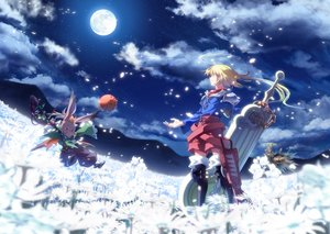 Rating: Safe Score: 37 Tags: all_male aqua_eyes blonde_hair boots chocobo final_fantasy final_fantasy_tactics flowers long_hair luclu03 male marche_radiuju moogle moon petals sky sword weapon User: RyuZU