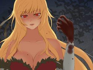 Rating: Safe Score: 154 Tags: bakemonogatari blonde_hair blood breasts cleavage elbow_gloves gloves kissshot_acerolaorion_heartunderblade long_hair monogatari_(series) oshino_shinobu red_eyes vampire User: HawthorneKitty
