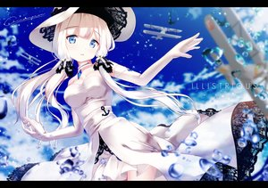Rating: Safe Score: 79 Tags: aircraft anthropomorphism azur_lane blue_eyes breasts chinomaron choker cleavage clouds dress elbow_gloves gloves hat illustrious_(azur_lane) long_hair signed sky twintails User: RyuZU