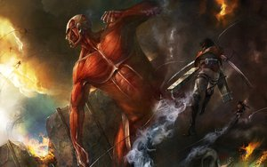 Rating: Safe Score: 90 Tags: colossal_titan rivaille shingeki_no_kyojin taitsu_(tights) User: FormX