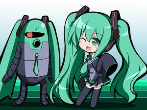 Rating: Safe Score: 22 Tags: chibi hatsune_miku kakeru robot thighhighs twintails vocaloid User: SciFi