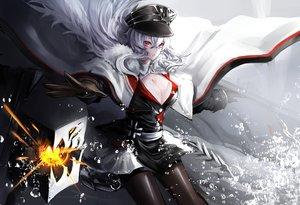Rating: Safe Score: 86 Tags: anthropomorphism azur_lane breasts cape cleavage cropped gloves graf_zeppelin_(azur_lane) hat ichinose_rom long_hair pantyhose pink_eyes water weapon white_hair User: Nepcoheart