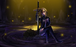 Rating: Safe Score: 325 Tags: artoria_pendragon_(all) blonde_hair fate_(series) fate/stay_night flowers maisaki petals rose saber saber_alter sword water weapon yellow_eyes User: Mund