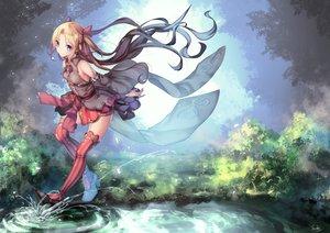 Rating: Safe Score: 80 Tags: aqua_eyes blonde_hair dress long_hair original ribbons saraki signed thighhighs water User: RyuZU