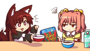Rating: Safe Score: 22 Tags: 2girls animal_ears apron bell brown_hair cat_smile drink food imaizumi_kagerou long_hair miwol motoori_kosuzu pink_hair red_eyes tail touhou waifu2x wolfgirl User: otaku_emmy