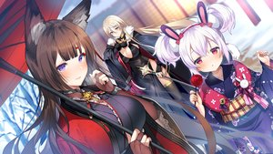 Rating: Safe Score: 124 Tags: amagi_(azur_lane) animal_ears anthropomorphism apple azur_lane bismarck_(azur_lane) blonde_hair blue_eyes blush breasts brown_hair bunny_ears candy cleavage elbow_gloves food fruit gloves headband japanese_clothes kurot laffey_(azur_lane) loli long_hair purple_eyes red_eyes staff tree twintails umbrella white_hair User: Dreista
