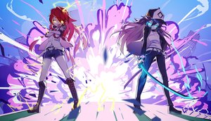 Rating: Safe Score: 41 Tags: 2girls aqua_eyes bai_yemeng black_hair boots fang hat katana long_hair magic original red_hair shorts signed sword tian_ling_ganlu tian_ling_qian_ye tie weapon yellow_eyes User: RyuZU