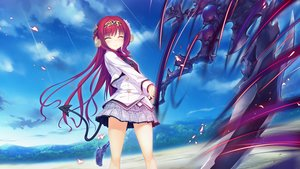 Rating: Safe Score: 102 Tags: clouds game_cg headdress horns long_hair red_hair school_uniform skirt sky sophia_usty tail tenmaso weapon whirlpool world_election User: RyuZU