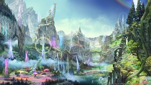 Rating: Safe Score: 55 Tags: building final_fantasy final_fantasy_xiv landscape rainbow scenic sky square_enix tree water waterfall watermark User: SciFi