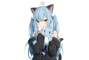 Rating: Safe Score: 24 Tags: amashiro_natsuki animal_ears aqua_eyes aqua_hair catgirl doll hoodie long_hair nekoha_shizuku original tail twintails white User: otaku_emmy