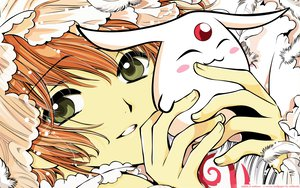 Rating: Safe Score: 19 Tags: brown_hair clamp close feathers green_eyes mokona sakura_(tsubasa) tsubasa_reservoir_chronicle watermark User: Oyashiro-sama