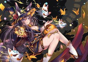 Rating: Safe Score: 105 Tags: animal animal_ears black_hair blush breasts cat_smile cleavage flowers foxgirl garter halloween hat horns long_hair mask multiple_tails original pumpkin purple_eyes rose tail usagihime witch_hat User: RyuZU