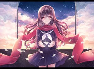Rating: Safe Score: 198 Tags: brown_hair clouds kagerou_project long_hair red_eyes scarf school_uniform stars tateyama_ayano torute User: luckyluna