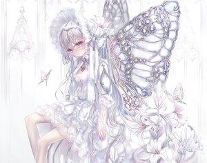 Rating: Safe Score: 105 Tags: butterfly cropped elbow_gloves flowers gloves hane_segawa headdress lolita_fashion long_hair original polychromatic purple_eyes white_hair wings User: BattlequeenYume