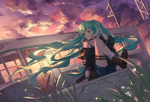 Rating: Safe Score: 32 Tags: clouds flowers garter green_eyes green_hair hatsune_miku long_hair qie_(25832912) shorts signed sky sunset twintails vocaloid User: BattlequeenYume