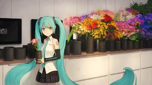 Rating: Safe Score: 16 Tags: aliasing aqua_eyes aqua_hair flowers hatsune_miku long_hair skirt tie turu twintails vocaloid User: mattiasc02
