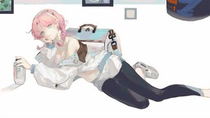 Rating: Safe Score: 16 Tags: arknights blue_eyes blue_poison_(arknights) braids long_hair pantyhose pink_hair samo_(shichun_samo) twintails white User: BattlequeenYume