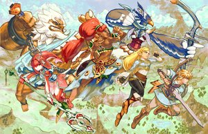 Rating: Safe Score: 32 Tags: animoose armor blonde_hair blue_eyes boots bow_(weapon) braids clouds dark_skin daruk gloves group landscape link_(zelda) male pointed_ears ponytail princess_mipha princess_zelda red_hair revali scenic skirt sky spear sword the_legend_of_zelda urbosa weapon white_hair wristwear User: otaku_emmy