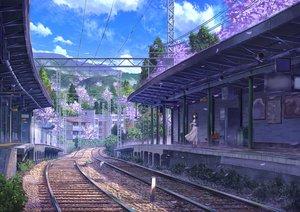 Rating: Safe Score: 109 Tags: building clouds dress niko_p original petals scenic sky train tree User: RyuZU
