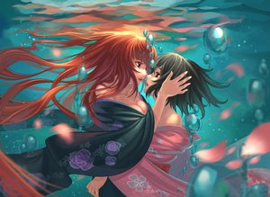 Rating: Safe Score: 150 Tags: 2girls akizuki_maria black_hair breasts bubbles catwyz cleavage japanese_clothes kimono long_hair orange_hair petals shin_sekai_yori short_hair shoujo_ai underwater watanabe_saki water User: FormX