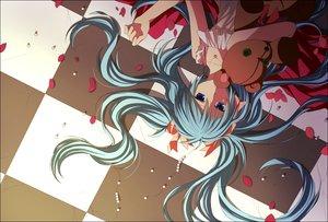 Rating: Safe Score: 53 Tags: akitsuki_(akiduko) aqua_hair dress hatsune_miku necklace petals teddy_bear twintails vocaloid User: HawthorneKitty