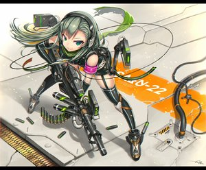Rating: Safe Score: 96 Tags: elbow_gloves garter_belt gia gloves green_eyes green_hair gun headphones long_hair original scarf signed thighhighs weapon User: FormX