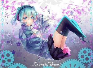 Rating: Safe Score: 84 Tags: aqua_hair blue_eyes bubbles ene_(kagerou_project) headphones kagerou_project short_hair skirt teka thighhighs twintails zettai_ryouiki User: FormX