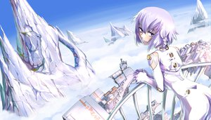 Rating: Safe Score: 67 Tags: ar_tonelico ar_tonelico_iii blush bodysuit clouds kamotama purple_eyes purple_hair short_hair skintight sky tilia User: PAIIS