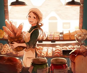 Rating: Safe Score: 81 Tags: akagi_shun apron brown_hair building cropped food hat long_hair original red_eyes scenic waifu2x User: otaku_emmy