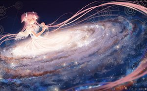 Rating: Safe Score: 124 Tags: ball bow dress earth kaname_madoka long_hair mahou_shoujo_madoka_magica pink_hair planet rimuu space stars twintails ultimate_madoka wings User: luckyluna