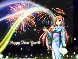 Rating: Safe Score: 27 Tags: blonde_hair fireworks grass green_eyes japanese_clothes long_hair petals sky stars yukata User: Oyashiro-sama