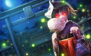 Rating: Safe Score: 78 Tags: animal black_hair fan fish japanese_clothes kimono mask misaki_(kyal_001) moon night original red_eyes ribbons short_hair shrine torii tree User: mattiasc02