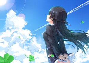 Rating: Safe Score: 52 Tags: aliasing black_hair braids chiyonekoko clouds long_hair nijisanji skirt sky tsukino_mito User: RyuZU